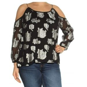 Lucky Brand S Black & Silver Floral Top New